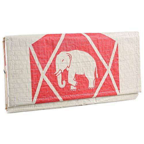 Upcycling Portemonnaie (einfach gefaltet) aus recyceltem Zement- /Fischfutter-/Reissack, Farbe/Aufdruck:Elefant Neu Beige-Rot