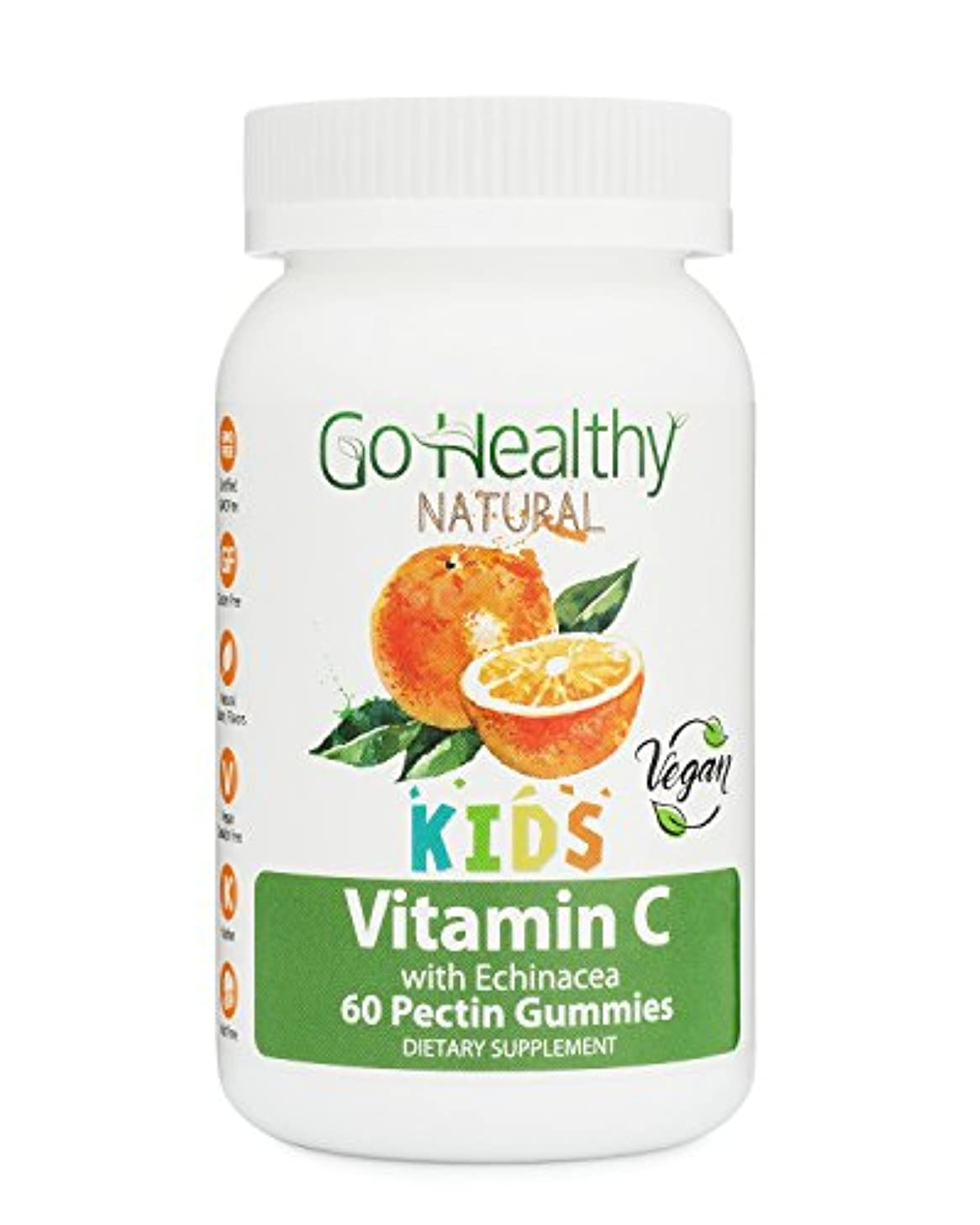 Go Healthy Natural Vitamin C Gummies with Echinacea for Kids, Vegan,100 mg Per Serving (60 Count) 60 Daily Servings, Gluten Free, Non-GMO, Halal, Kosher