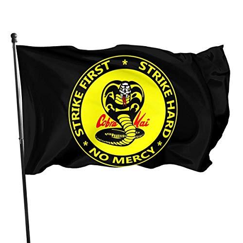 Jingliwang Mode Cobra Kai Flagge 3x5 Fuß Familienflagge, Gartendekoration, Außendekoration, Feiertagsdekoration, Bauernhofdekoration, Jubiläumsdekoration