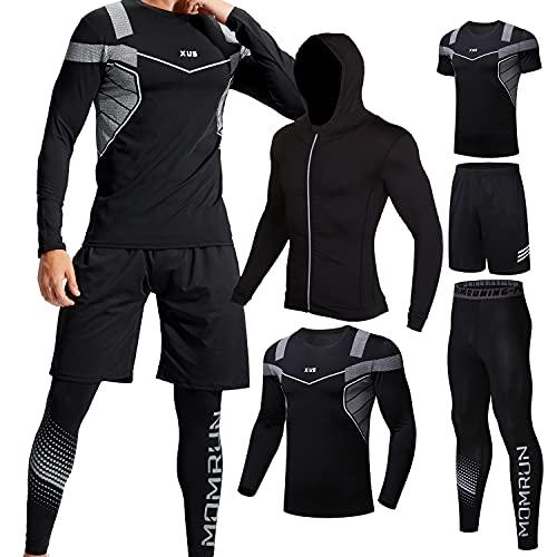 Männer Workout Kleidung Outfit Fitness Bekleidung Fitnessstudio Outdoor Laufen Kompressionshose Shirt Top Langarm Jacke 4PCS oder 5pcs, Schwarz, Gr. XL