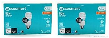 EcoSmart 60w CFL Soft White Lightbulb- 2 Pack=8 bulbs
