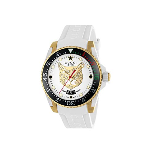 Gucci Uhr Dive cauuciu wei-gehuse pvd Gold-gelb YA136322
