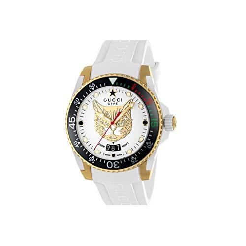 Gucci Reloj de Buceo cauuciu Carcasa Blanca con pvd con Oro Amarillo Y