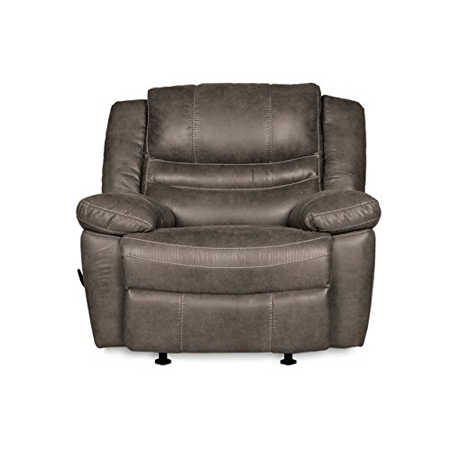 RevoluXion Mason Rocker Recliner Chair with Three Positions & Lumbar Support, Durable Faux Leather with Curved Shape Promises Generous Comfort, Quick & Easy to Assemble (Ash)
