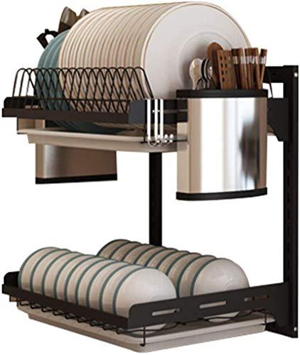 K-Flame Abtropffläche Abtropffläche mit Tropfschale 3-stufiger Wand-Abtropffläche Küchenbesteck-Lagerregal Abtropffläche Halter-2 Tiers Wie Gezeigt