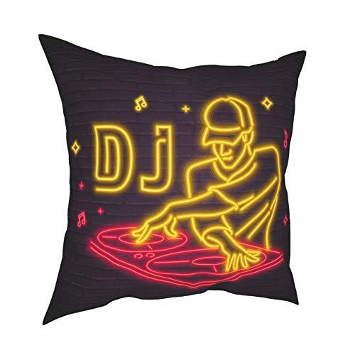 Pillowcase Fundas de Almohada 45x45CM DJ Icon Neon Light Glowing Vector Illustration. Decoración de Fiesta de DJ para decoración del hogar, Oficina, sofá, Barra de Vacaciones, café, Boda, Coche