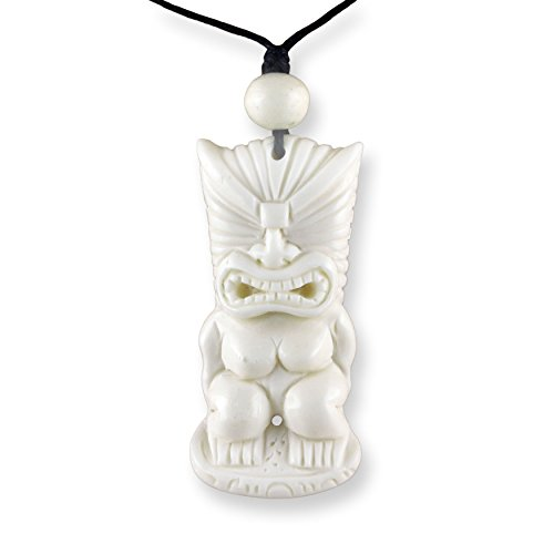 ISLAND PIERCINGS Halskette Handgefertigter Amulett Anhänger Maori Tiki aus Knochen PB358