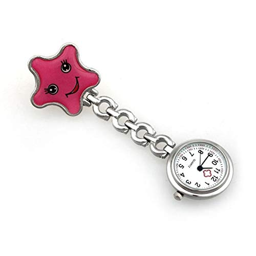 Reloj de broche duradero Reloj de señoras de las estrellas de mar del corazón del reloj for mujer de cuarzo con clip del Fob de la broche de reloj de bolsillo de la enfermera Enfermero Doctor Paramédi