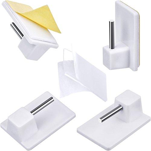 24 Packung Selbstklebender Haken Kunststoff-klebriger Endhaken mit 24 Packung Klar doppelseitiger Aufkleber für Netzvorhangstangen