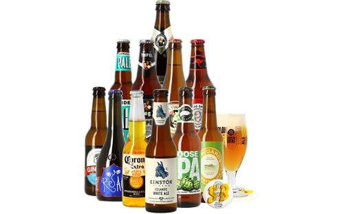 Assortiment de bières - Idée cadeau - Découverte de la bière - Dégustation (Coffret 11 bières du monde + 1 verre)