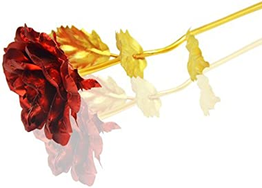 Indigo creatives Red Gold Rose 10 INCHES with Gift Box - Best Gift for Loves Ones, Valentine's Day, Mother's Day, Ann