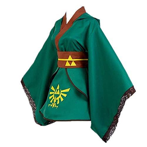 Charous Game The Legend of Zelda Cosplay Kostüm Halloween Kostüm Kimono Bademantel für Damen Herren Gr. Medium, grün