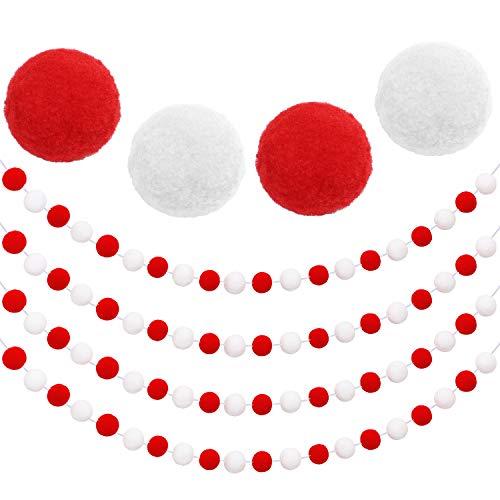 Aneco - Guirnalda de Bolas de Fieltro para decoración navideña, 80 Bolas de pompón, Adorno de Navidad para Colgar en la Chimenea del árbol y la Pared, 4 Unidades