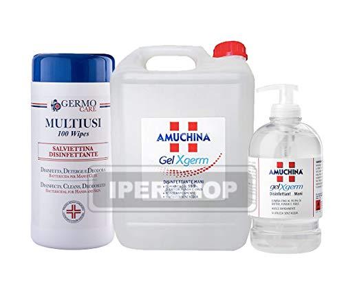 Juego higienizante de manos: bidón de 5 litros + dosificador de 500 ml + 100 toallitas desinfectantes