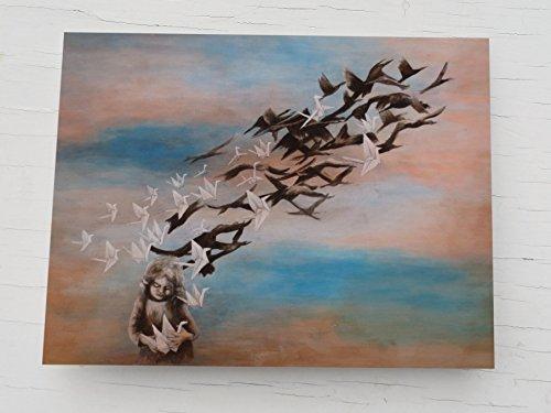 Glückwunschkarte, Vögel, Papierkranich, Grußkarte für Tochter, Postkarte für Mädchen, Karten Papier Vögel, Klappkarte Vogelschwarm, Karte weiße Vögel, Geburtstagskarte Vogel, Origami Kraniche, Kunst