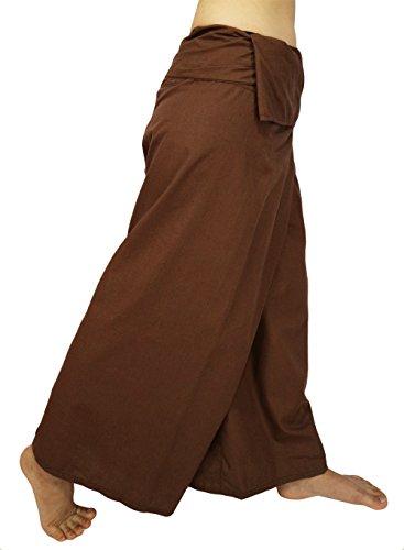 Lovely Creations Jumbo-Größe, für Herren und Damen, Thai-Fischer, Wickelhose, Toray, wildes Bein, Baggy, Yoga, Freizeithose, Taille 152,4 cm (AF Hellbraun)