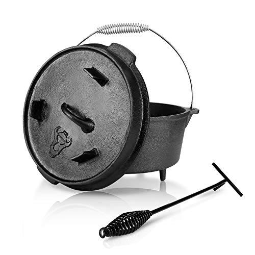 wolketon Dutch Oven,Gusseisen Kochtopf,bereits eingebrannt,Bräter mit Deckelheber,Spiralförmiger Henkel,4,5 qt Topf mit Füße,Feuerstelle Lagerfeuer Camping BBQ Kochen