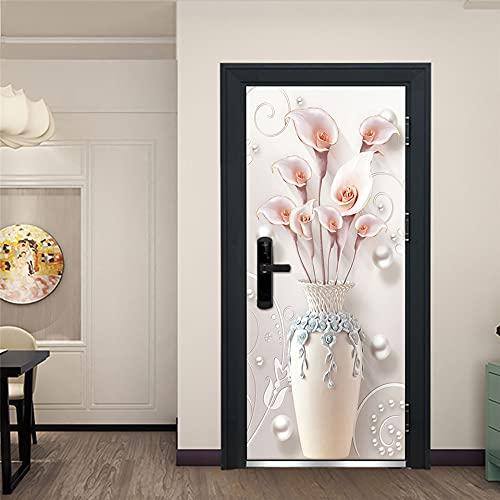 Etiqueta De La Puerta 3D Calcomanías Hd Florero Blanco Creativo Puerta Puerta Mural Autoadhesivo Arte De La Puerta Decoración Para El Hogar Etiqueta De La Pared De Pvc 2 Piezas Set A227 (77X200Cm)
