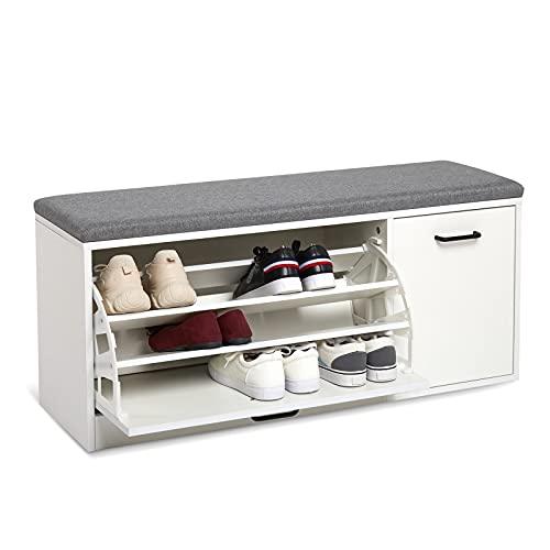 Meerveil Banc à Chaussures, Meuble de Rangement pour Chaussures Coussin Rembourré en Bois pour Entrées Couloirs, 100 x 30 x 46 cm (Blanc)
