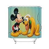 Fgolphd Disney Mickey Mouse Duschvorhang, Anime Cartoon Mickey Minnie Mouse Duschvorhang180x200180x180, Bunt Shower CurtainsWasserdicht Für Badezimmer (200 * 200,9)
