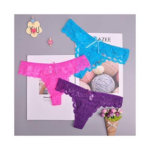 Linyuex Frauen Spitze bequem und atmungsaktiv Zapfen G-Schnur Unterwäsche-Schlüpfer Slips for Damen T-Back (Color : 87169meiziqlan, Size : Small)