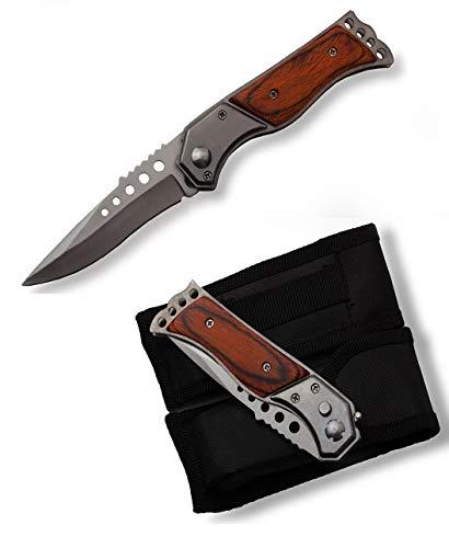 VIKING GEAR® Robustes kleines Taschenmesser - Klappmesser - Jagdmesser - Einhandmesser - Messer mit Etui - Prepper Ausrüstung - Survival Outdoor Knife, braun Silber schwaru