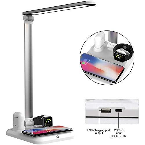 4-in-1 lamp, draadloze oplader, bureau, 10 W, snel laadstation, draadloos, voor iPhone, iPad, Airpod en alle mobiele telefoons.