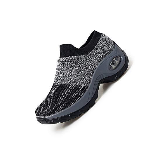 [ROVIS] ウォーキングシューズ レディーススニーカー 婦人靴 厚底スニーカー 運動靴 ナースシューズ 船型底 カジュアル スリッポン 軽量 柔軟 通気 エアクッション ソックススニーカー サイズ245シルバー
