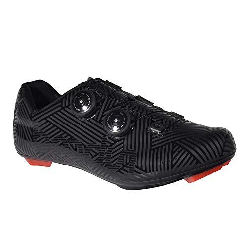 Insun Hombre Zapatos de Bicicleta Zapatillas de Ciclismo con Sistema Rotativo Carretera Negro 39 EU