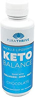 PuraTHRIVE Liposomal Keto Balance Ketosis Supplement - Grass Fed Beef Collagen, Coconut MCTs, Algal DHA - 8oz Liquid Bottle - Increase Fat Loss, Improve Heart Health (Thick Collagen Formula)