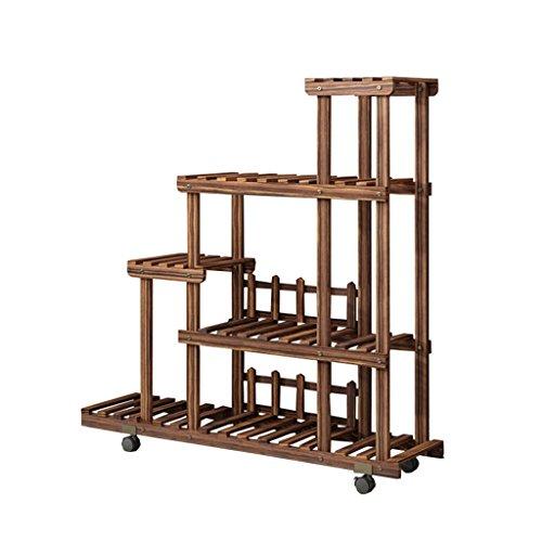 Blumenregal mit 5 Ebenen, Holz, mit Rollen, für Innen- und Außenbereich, für Garten, Treppe, Blumentöpfe, Ständer, Aufbewahrung, Eckregal für Büro/Balkon, dunkelbraun 001