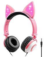 キッズヘッドフォン 猫耳サポート 3.5 mm オーディオジャックヘッドセット 85dB ボリューム限定 キュートオンイヤーヘッドフォン (ピンク)