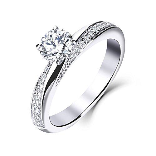 YL Hochzeitsring Verlobungsring Solitärring Diamantring 14Karat (585) 1Ct Moissanite ring Weißgold Ring für Braut Damen(Größe 54)