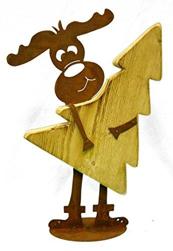 Renna 'Max' in metallo con albero in legno, patina di ruggine, decorazione natalizia, originale, novitá , addobbi, Natale, inverno