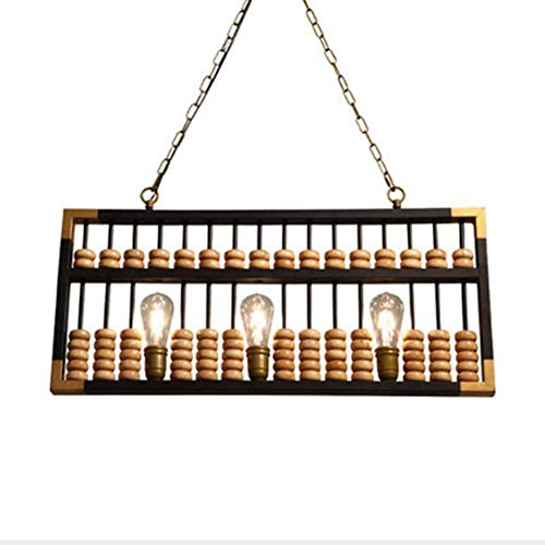 SXFYWYM Anhänger Licht Moderne Abacus Holz Kronleuchter kreative Rezeption Dekoration Kasse Kronleuchter,Black,35x80cm