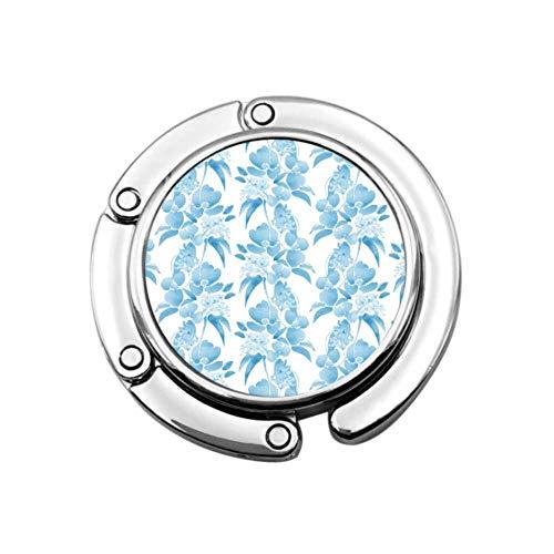 Rosa Azul Elegante Belleza Flores Bolsa Plegable Colgador Mesa Monedero Gancho Colgador Diseños únicos Sección Plegable Almacenamiento