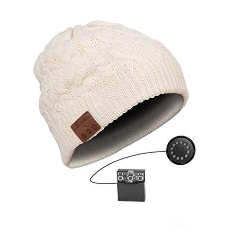 YI WORLD Smart Casquette Bluetooth Beanie (oreillette Bluetooth Hat) Fil Casque Music Hat Microphone intégré Répondre aux appels Équipement, White