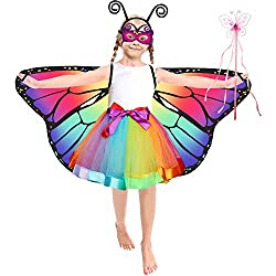 Kids Butterfly Costume Rainbow Tutu Dress for Girls with Wings, Mask, Antenna Headband, Fairy Wand