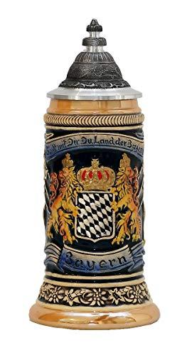 Zöller & Born Chope de bière Allemande étain Bavaria Armoiries nationales dans Le Panneau Central 0,25 litres ZO 1661-996