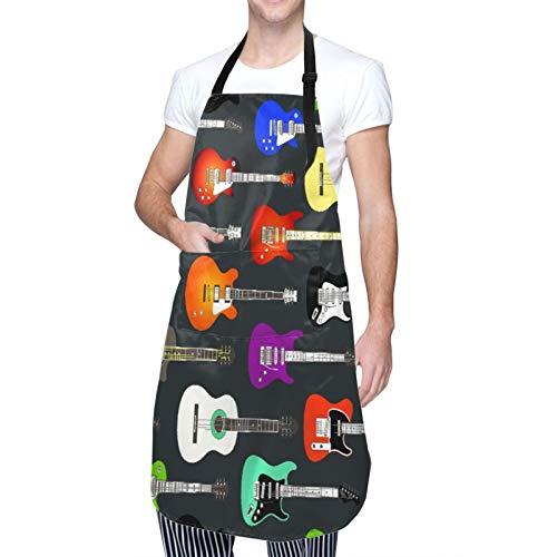 DAHALLAR Ajustable Colgante de Cuello Personalizado Delantal Impermeable,De Color Guitarras Acústicas Y Eléctricas,Babero de Cocina Vestido para Hombres Mujeres con 2 Bolsillos Centrales