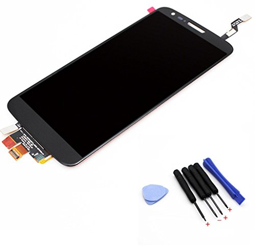 Negro LCD Touch Screen Glass Digitizer Assembly + pantalla táctil digitalizador completa para LG G2 D802+herramientas