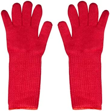 Oven Gloves Oven Mitts with Fingers Mulit Use Ultra Thick BBQ Oven Gloves Blue Red Extra Long product image