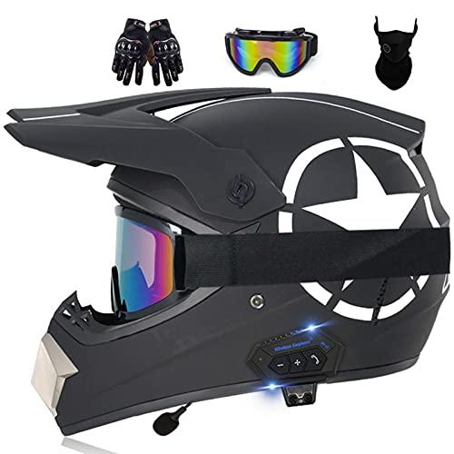 Bluetooth Casco de Motocross Adultos Casco de Cross Casco Moto Integral para MX Dirt Bike ATV Quad Enduro Downhill DH Off Road Scooter (Color : F, Size : S(55-56CM))