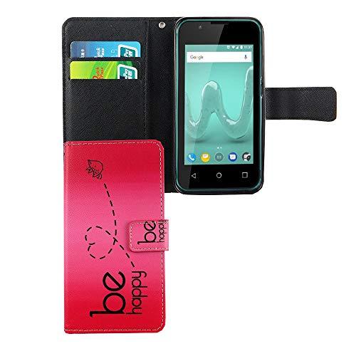 König Design Handyhülle Kompatibel mit Wiko Sunny 2 Handytasche Schutzhülle Tasche Flip Hülle mit Kreditkartenfächern - Be Happy Design Pink