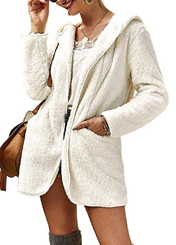 Biooarc damesjas van imitatiebont met losse pasvorm met capuchon dikker jasje bovenkleding