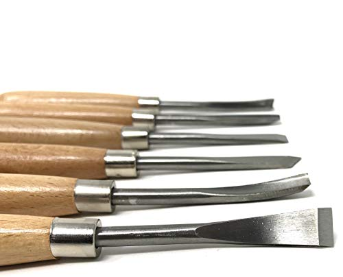 Wood Carving Straight Handle Tool Set 6 Piece for All Levels of Carving, Engraving, Linocut and Wood Whittling Chisel Set Carving Tools