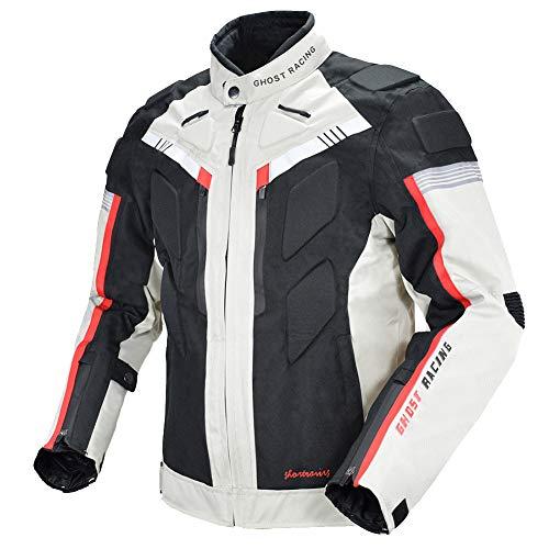 Motorrad-Radjacke, Vier Jahreszeiten, Splash-Proof, Winter-Proof Motorrad-Bekleidung, Drop-Resistant Pullover, in voller Größe Optional, herrschsüchtige Art und Weise Schwarzweiss Optional Farbe,Weiß