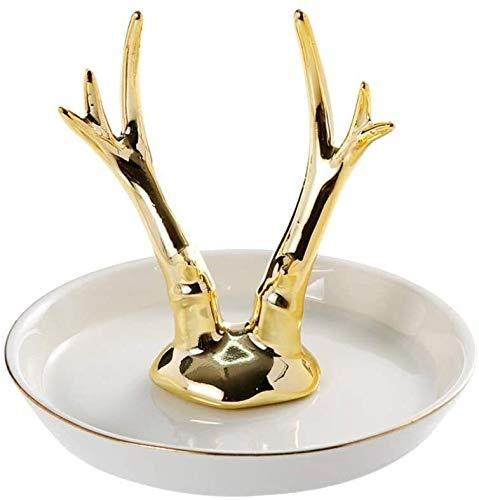 LQ Cornamenta de Oro de joyería de cerámica Placa de Escultura Decorativa, Anillo de atención joyería Creativa Estante de baño Decoración de Lujo Oro Cerámica Artesanía (Color : A, Size : H11.5cm)