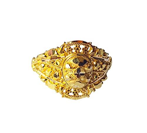 Oro fino amarillo macizo de 18 quilates (18 quilates) Hermosa Diseño Señoras Anillo Tamaño -10.25 Joyas preciosas hechas a mano en la India para regalos,aniversario,boda,compromiso