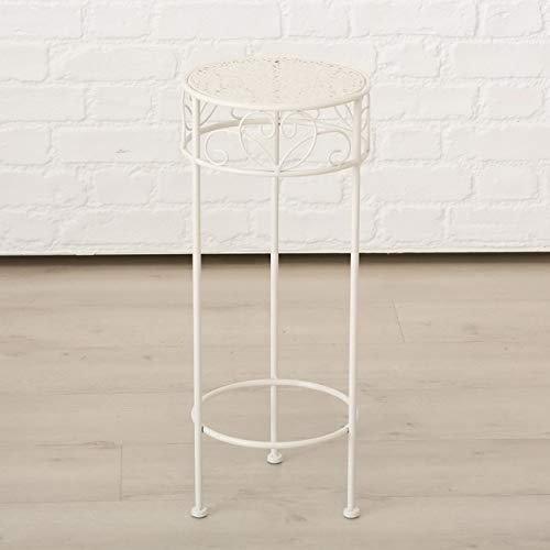 Meinposten. Hoge bijzettafel wit metaal telefoontafel plantentafel bloemenstandaard tafel tafel Rond Mittlerer Tisch: 25 x 60 cm wit